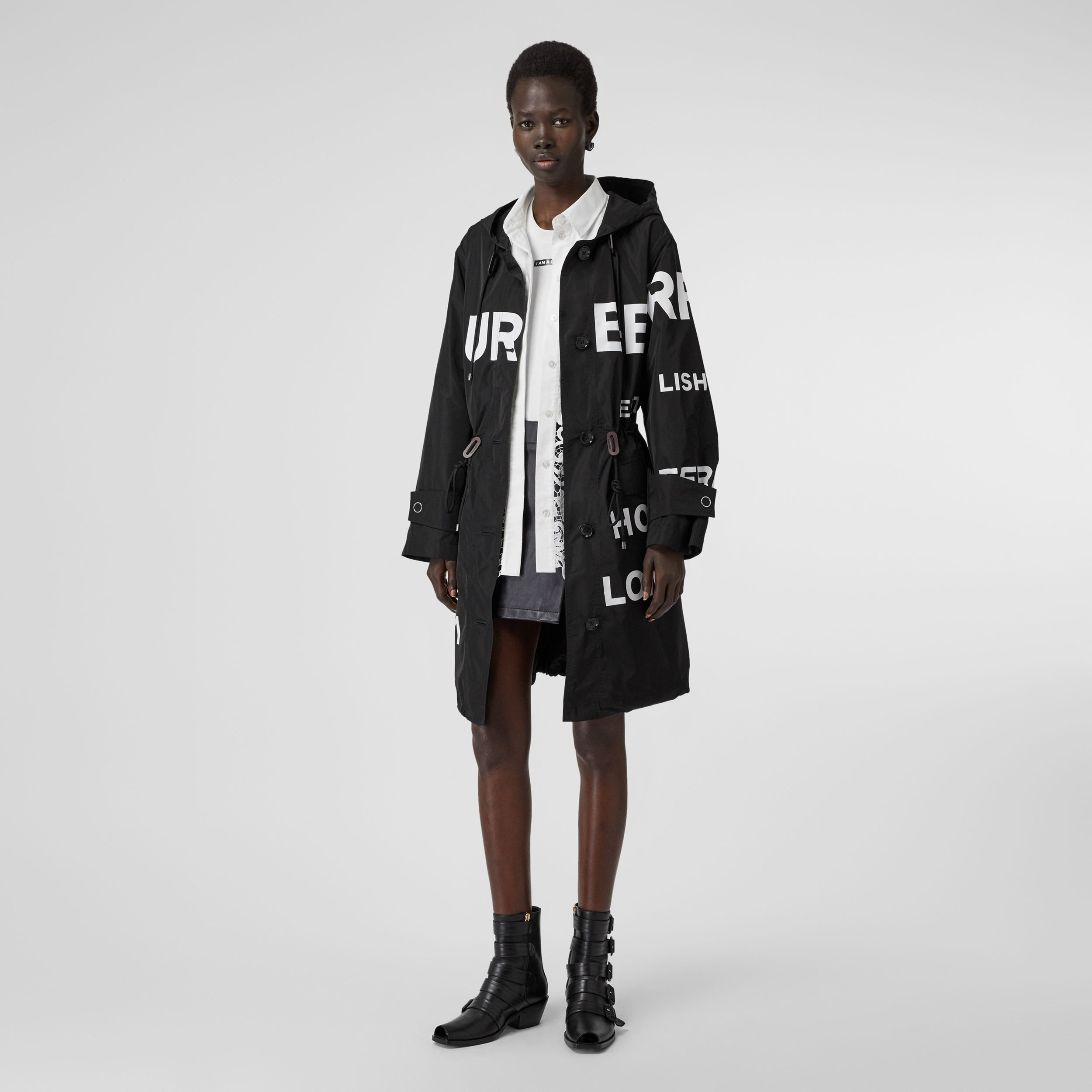 Horseferry Print Nylon Parka in Black - Women | Burberry - 1
