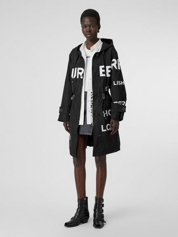Horseferry Print Nylon Parka in Black