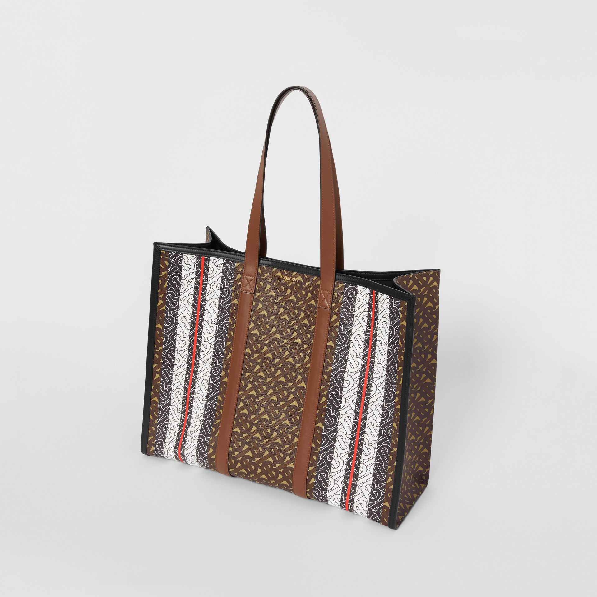 Monogram Stripe E-canvas Tote Bag in Bridle Brown | Burberry - gallery image 4