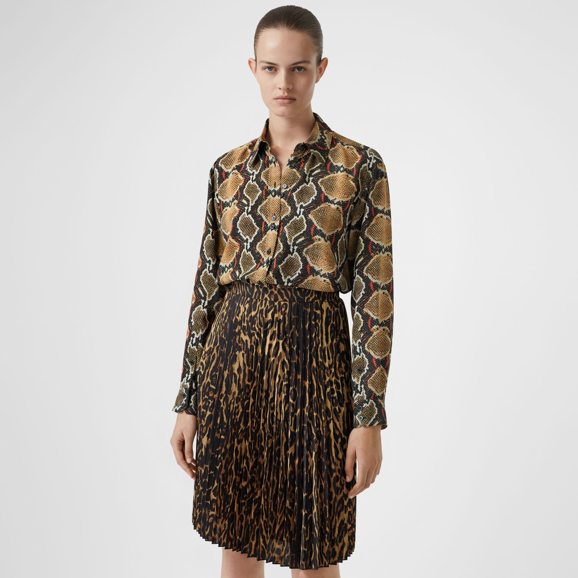 Python Print Silk Shirt in Soft Cocoa - Women | Burberry United Kingdom - gallery image 0