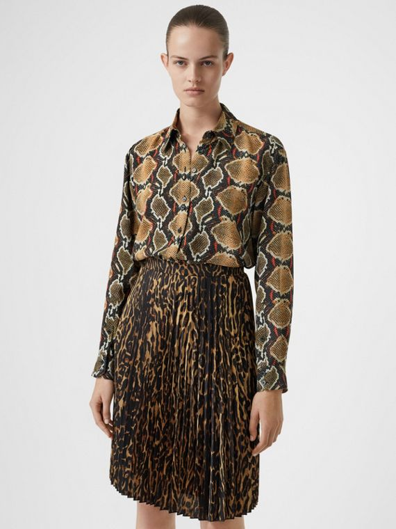 Python Print Silk Shirt in Soft Cocoa