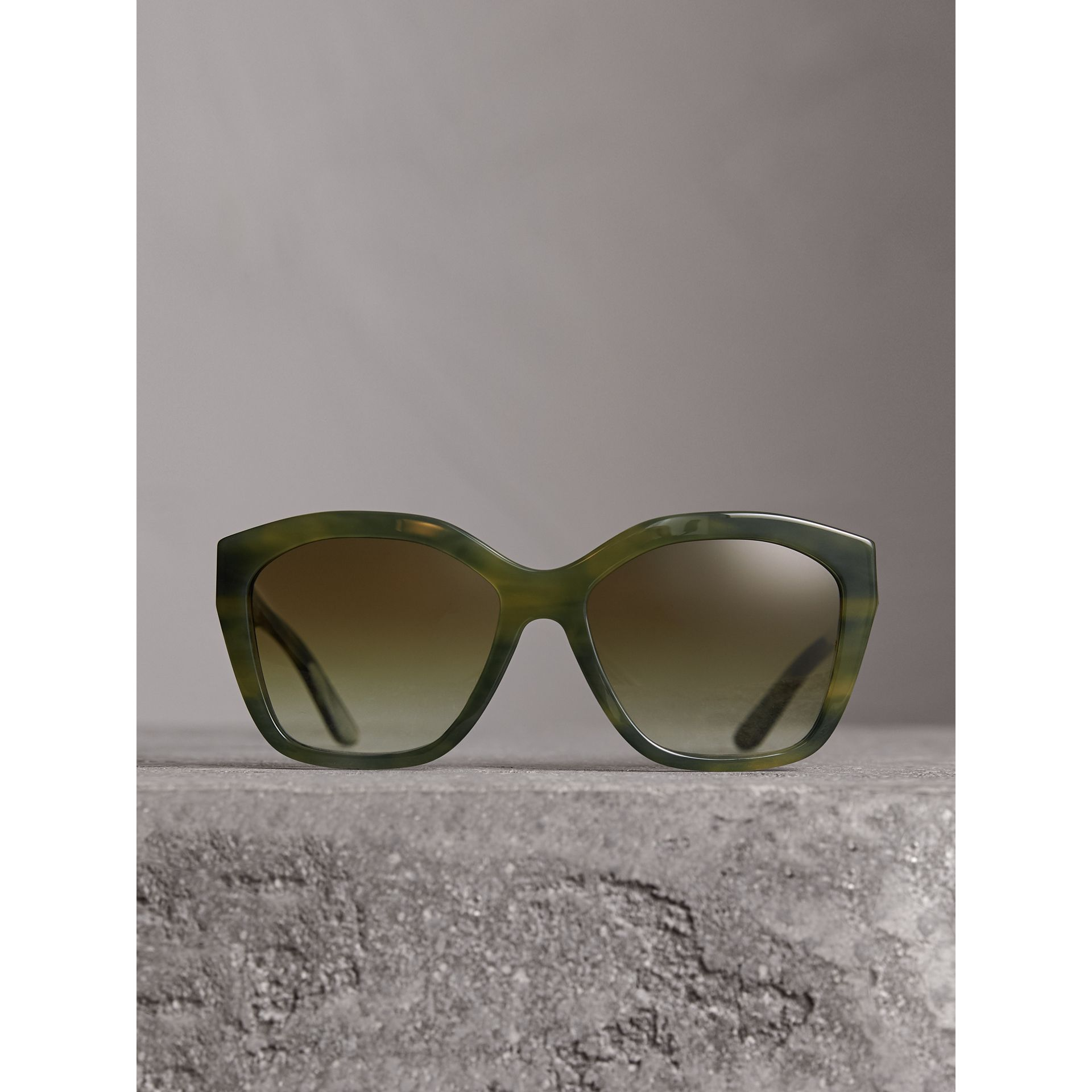 Square Frame Sunglasses in Smokey Green - Women | Burberry - gallery image 3