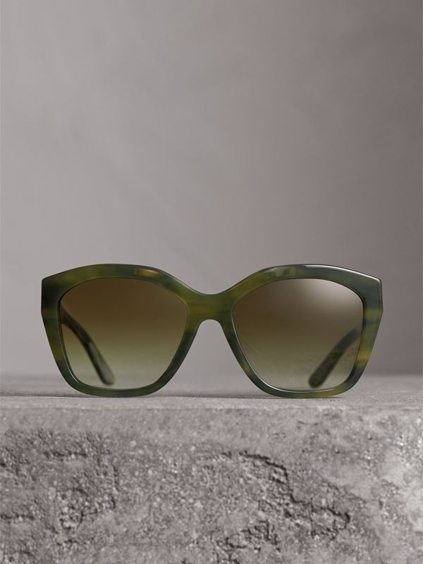 Square Frame Sunglasses in Smokey Green - Women | Burberry - cell image 3