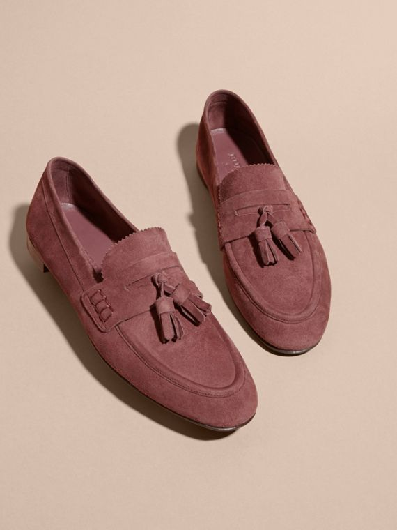 Tasselled Suede Loafers Taupe Rose - cell image 3