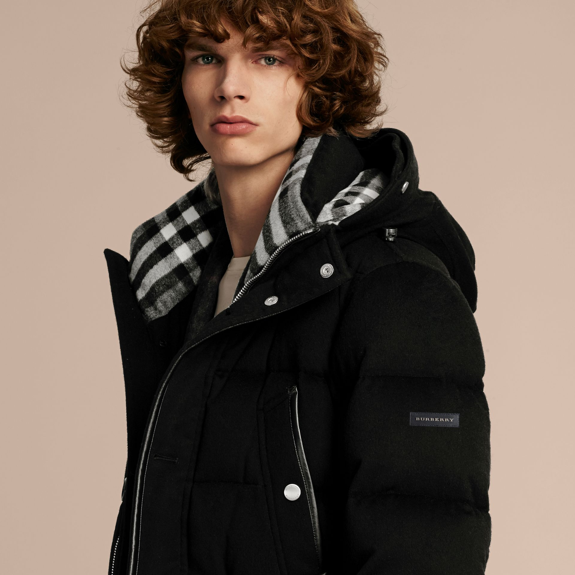 Down-filled Cashmere Parka with Detachable Fur Trim in Black - gallery image 5