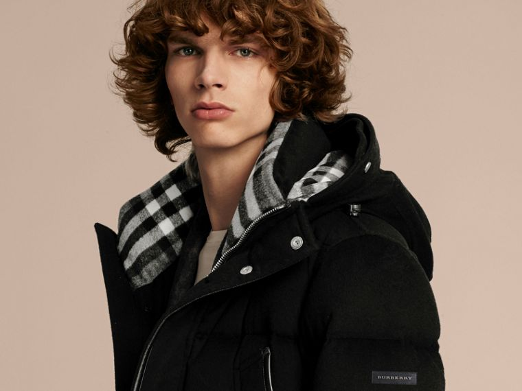 Down-filled Cashmere Parka with Detachable Fur Trim in Black - cell image 4