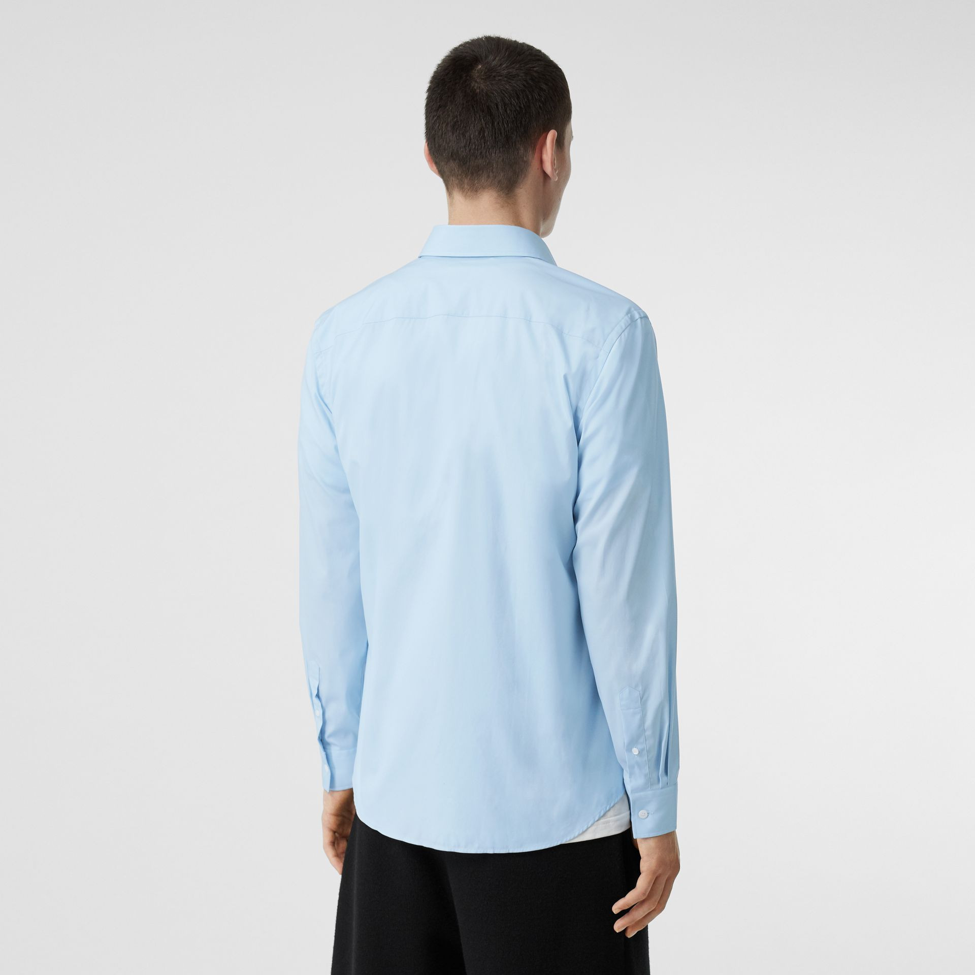 Monogram Motif Stretch Cotton Poplin Shirt in Pale Blue - Men | Burberry Hong Kong S.A.R - gallery image 2