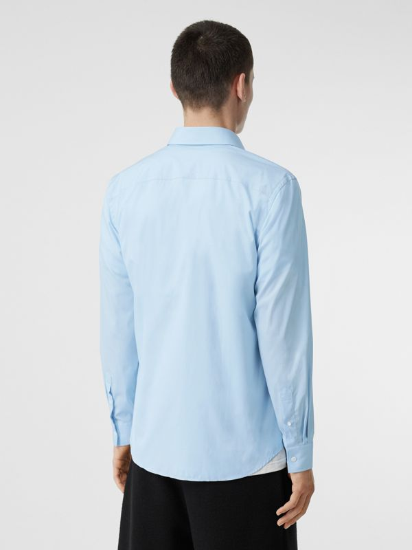 Monogram Motif Stretch Cotton Poplin Shirt in Pale Blue - Men | Burberry Australia - cell image 2