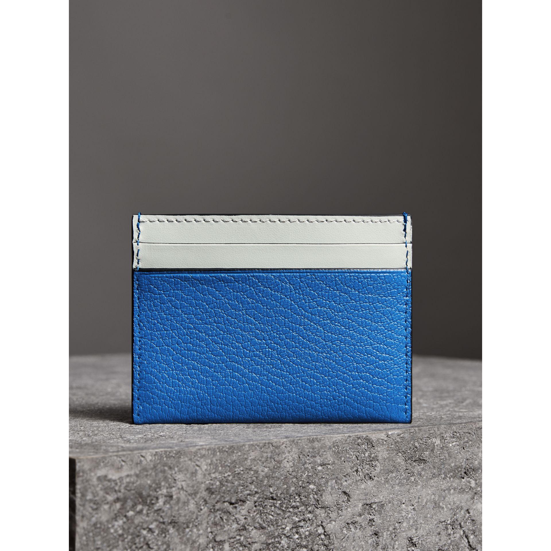 Two-tone Leather Card Case in Hydrangea Blue | Burberry - gallery image 2