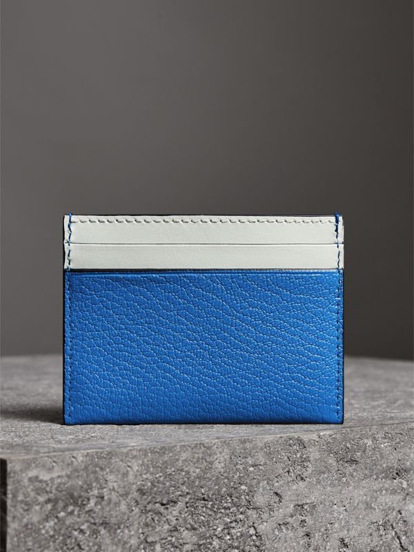 Two-tone Leather Card Case in Hydrangea Blue | Burberry - cell image 2