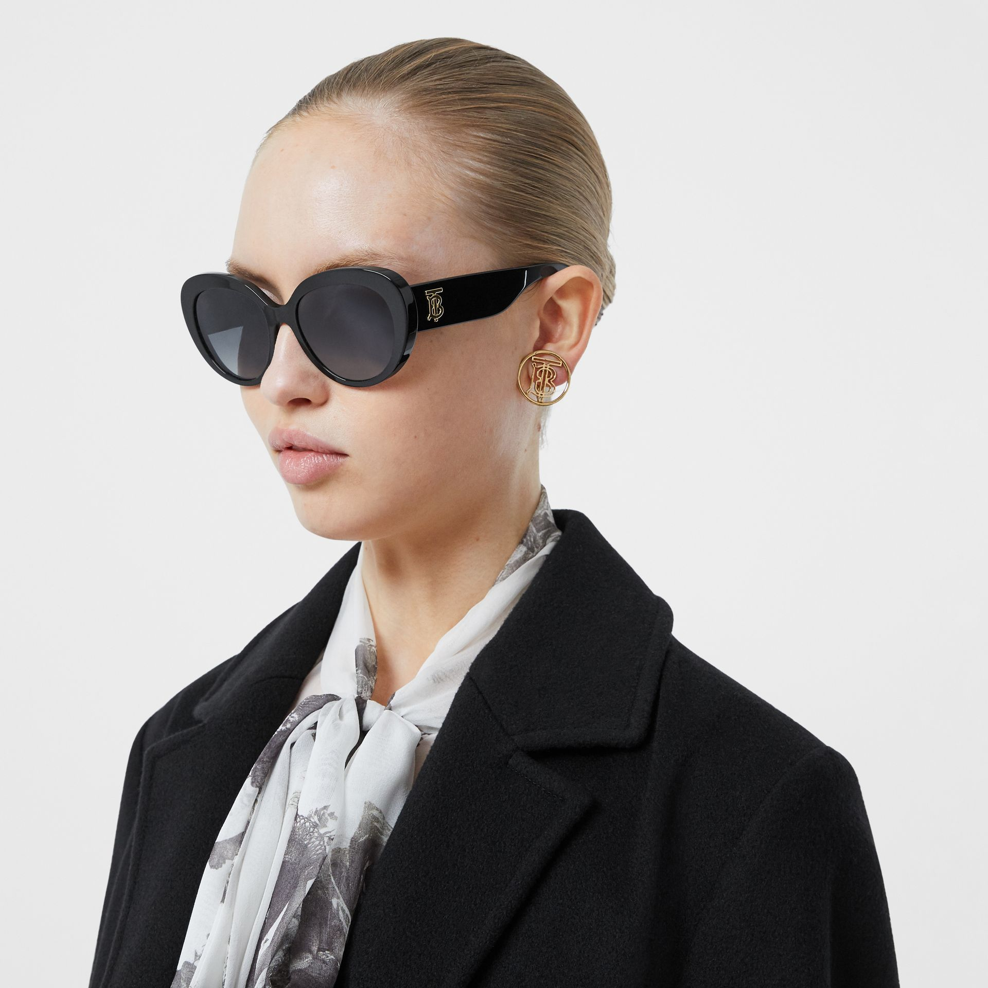 Monogram Motif Cat-eye Frame Sunglasses in Black - Women | Burberry United Kingdom - gallery image 2