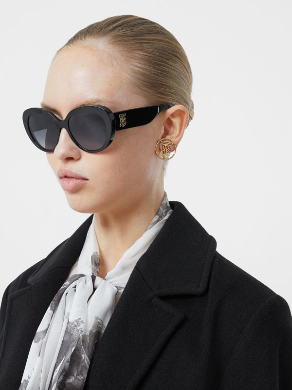Monogram Motif Cat-eye Frame Sunglasses in Black - Women | Burberry United Kingdom - cell image 2
