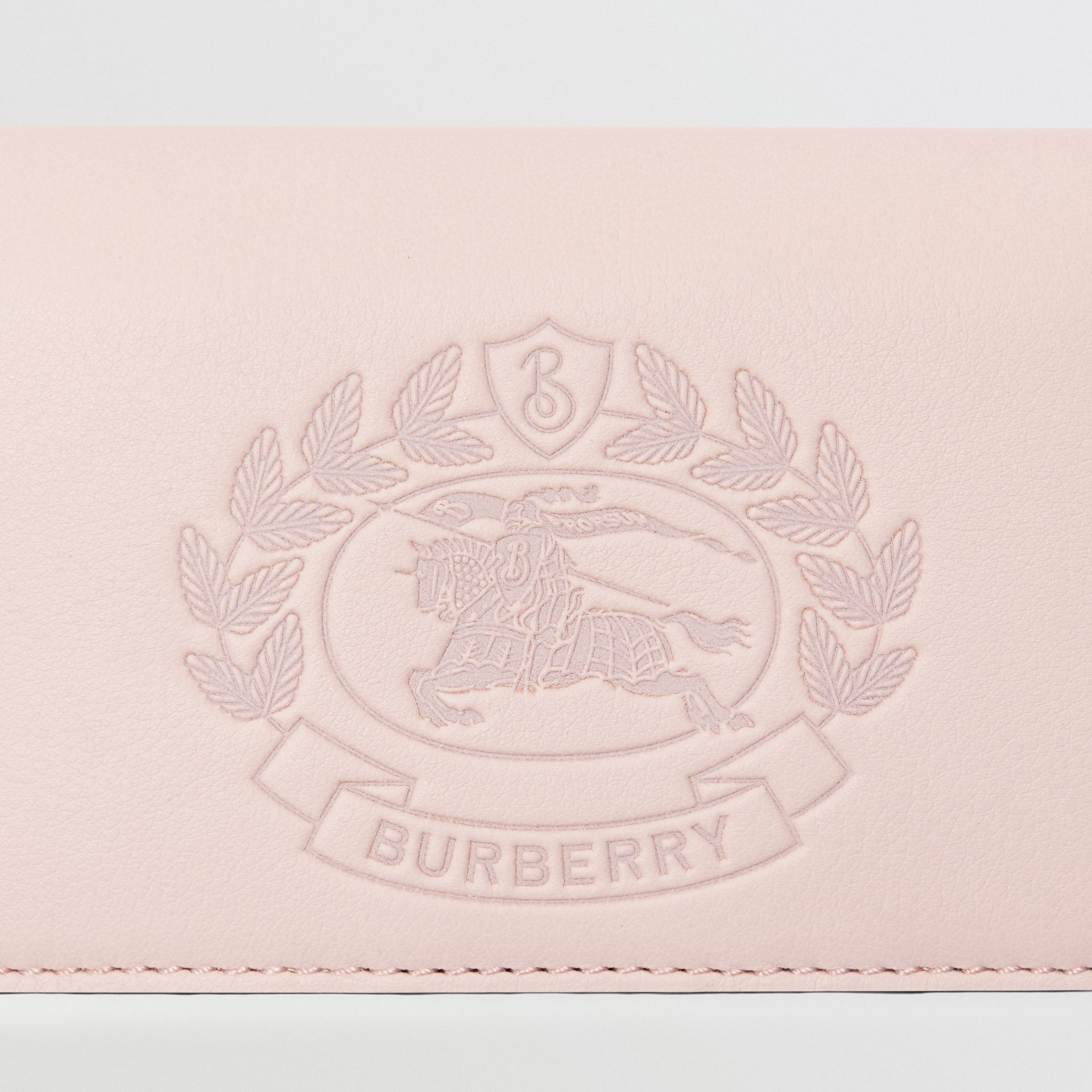 Small Embossed Crest Two-tone Leather Wallet in Chalk Pink - Women | Burberry Australia - gallery image 1