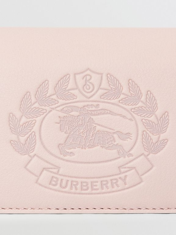 Small Embossed Crest Two-tone Leather Wallet in Chalk Pink - Women | Burberry Australia - cell image 1