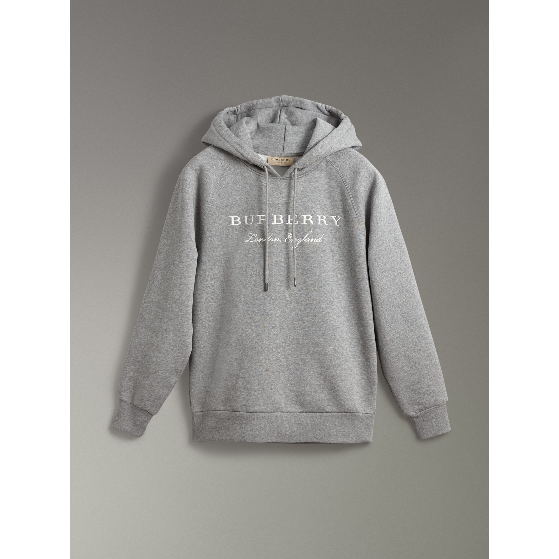Embroidered Hooded Sweatshirt in Pale Grey Melange - Women | Burberry United Kingdom - gallery image 3