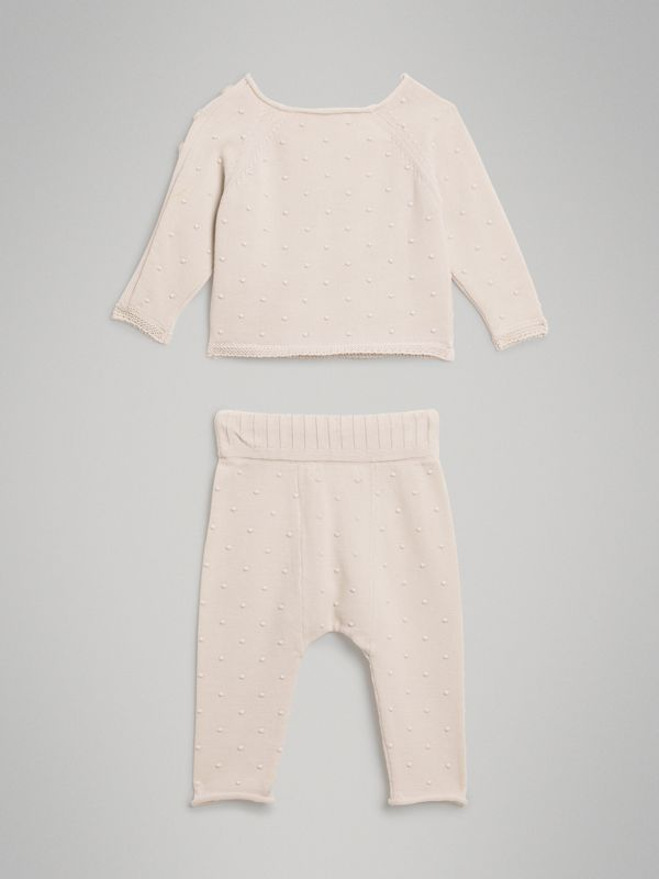 Bobble Knit Cotton Two-piece Baby Gift Set in Stone - Children | Burberry - cell image 3