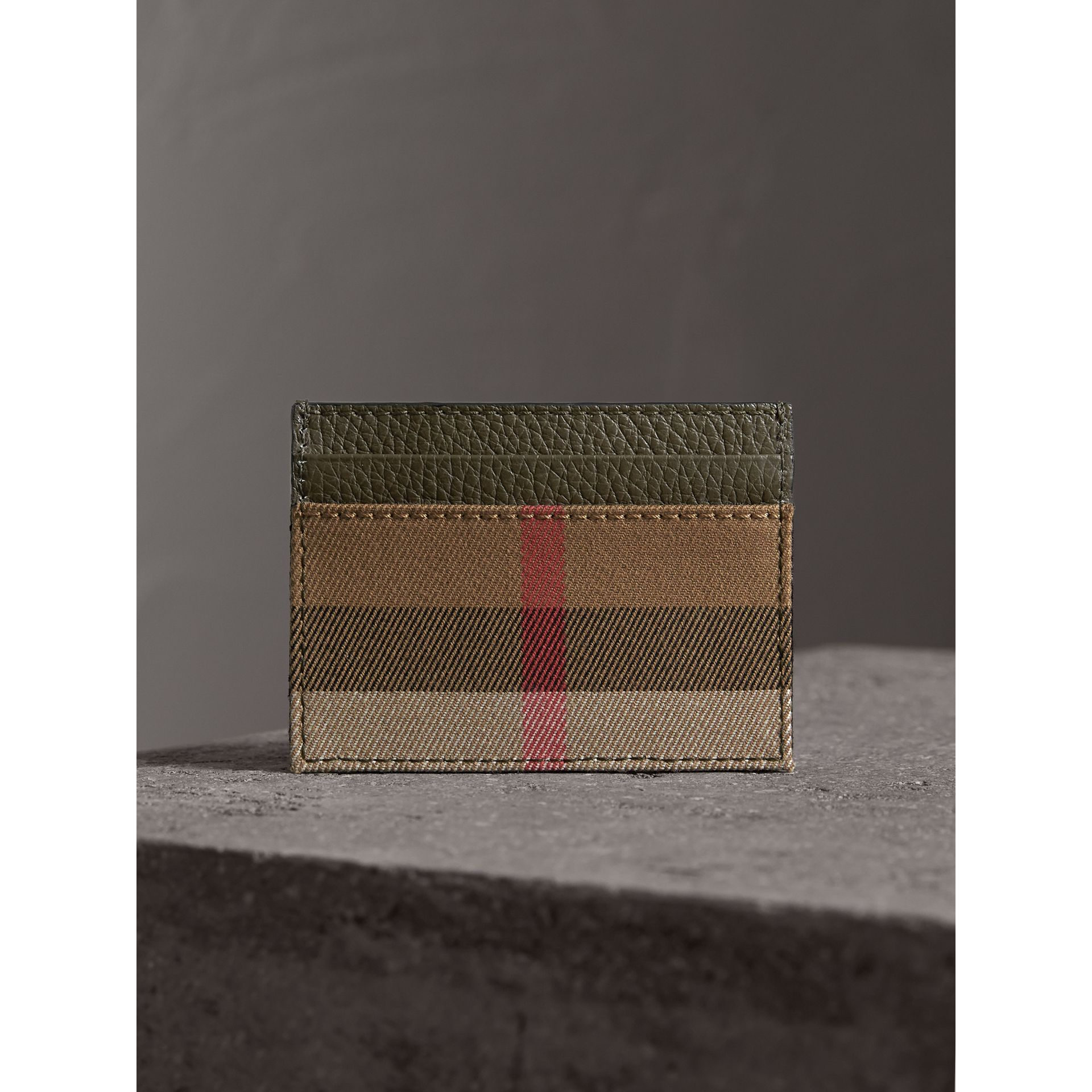 House Check and Grainy Leather Card Case in Sage - Men | Burberry - gallery image 4