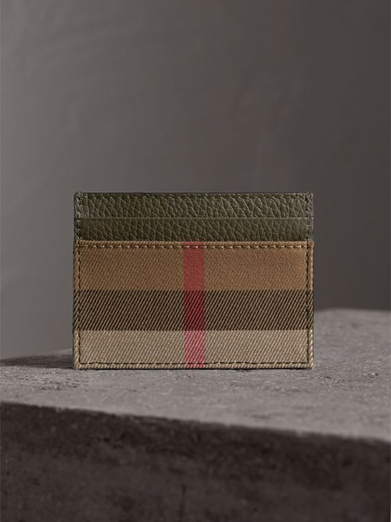 House Check and Grainy Leather Card Case in Sage - Men | Burberry - cell image 3