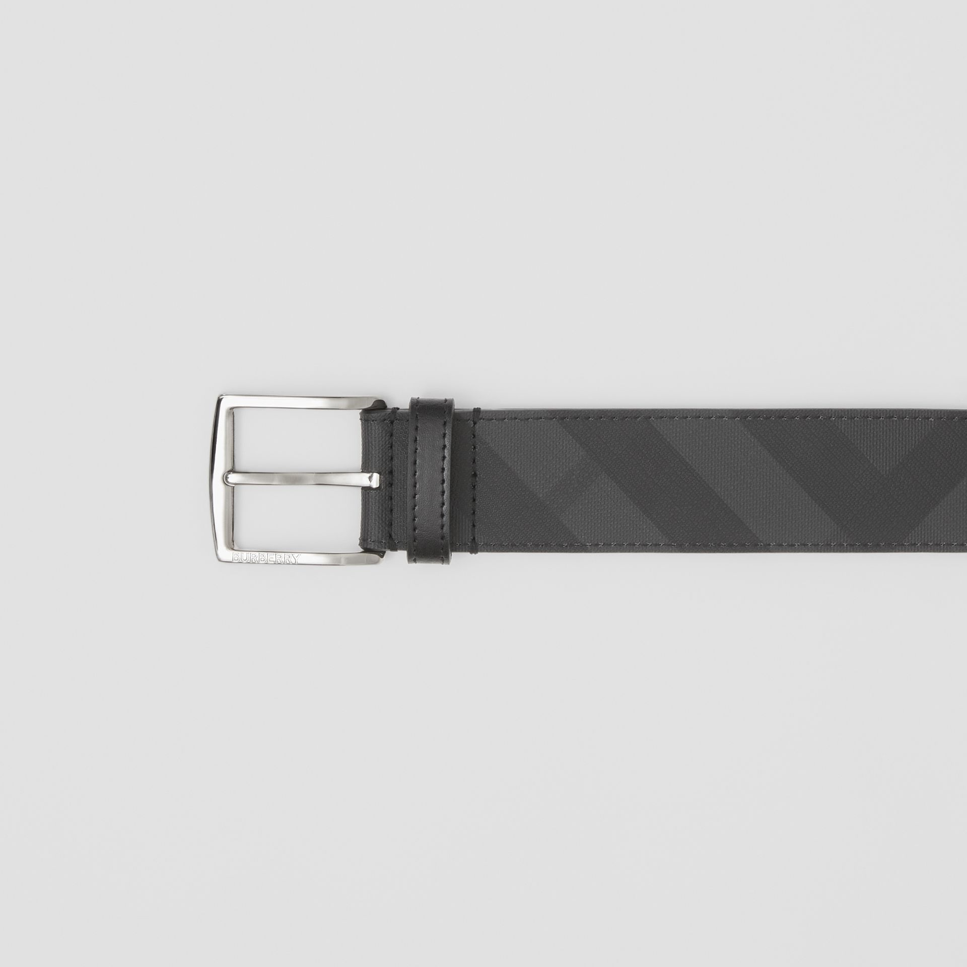London Check and Leather Belt in Dark Charcoal/black - Men | Burberry United Kingdom - gallery image 1
