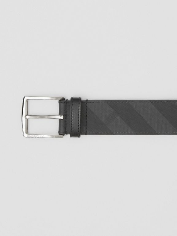 London Check and Leather Belt in Dark Charcoal/black - Men | Burberry - cell image 1