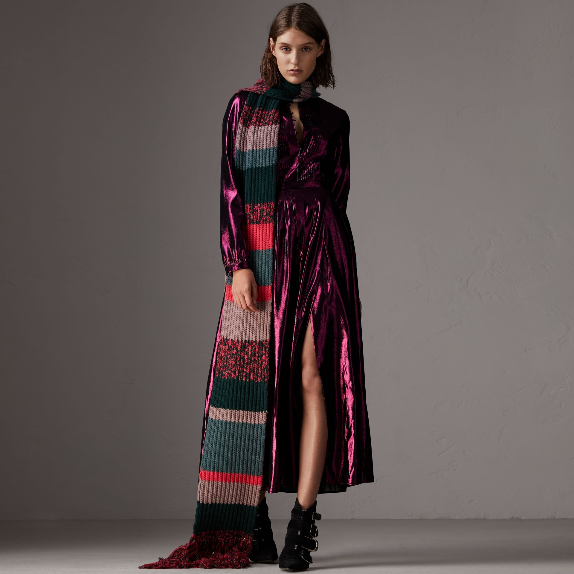 Long-sleeve Pintuck Lamé Dress in Bright Fuchsia - Women | Burberry United States - gallery image 1