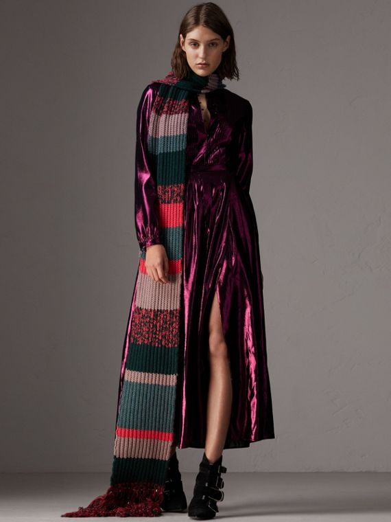 Long-sleeve Pintuck Lamé Dress in Bright Fuchsia