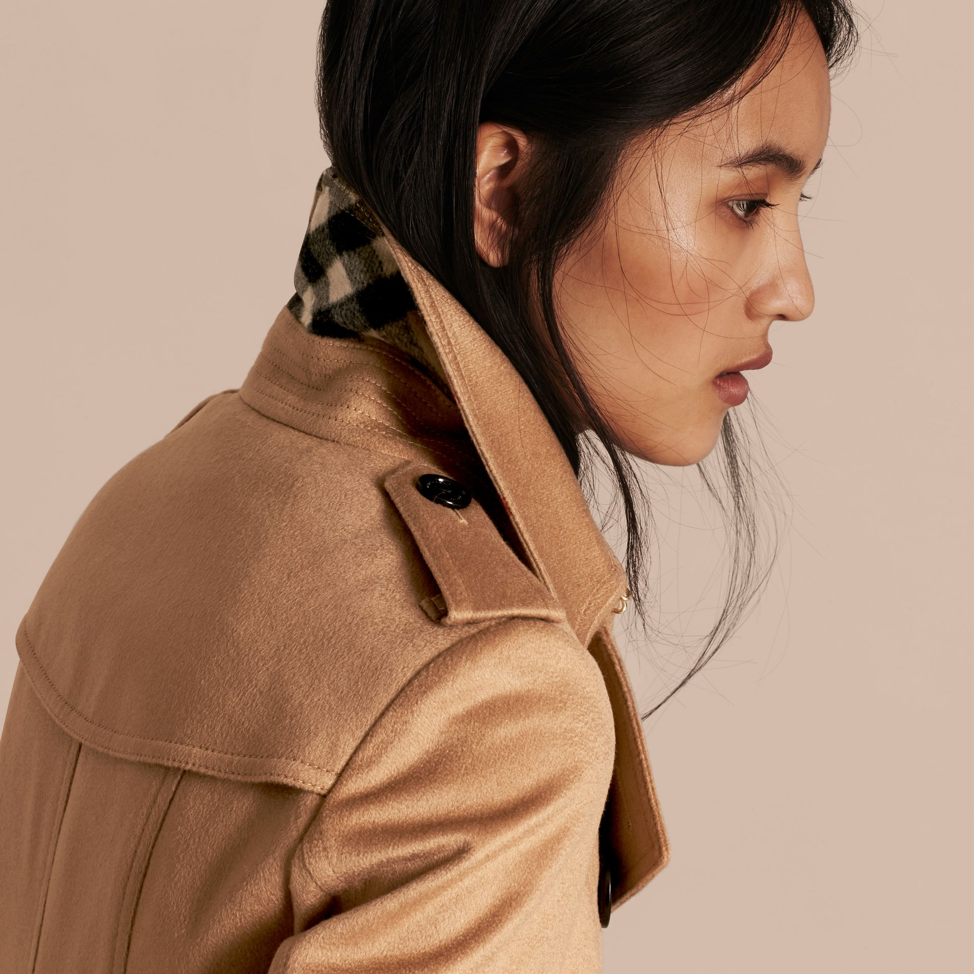 Sandringham Fit Cashmere Trench Coat Camel - gallery image 5