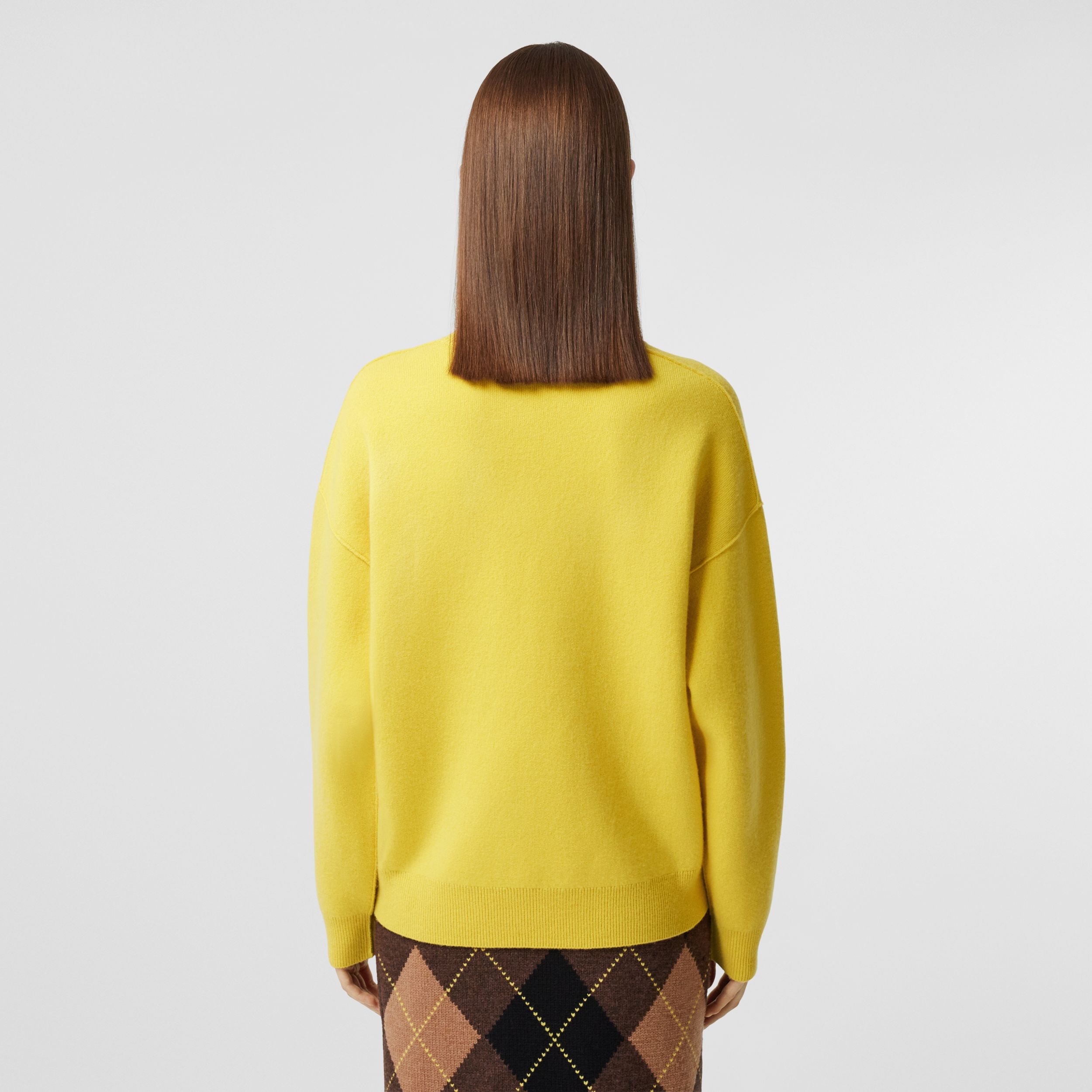 Monogram Motif Cashmere Blend Sweater in Bright Yellow - Women | Burberry - 3