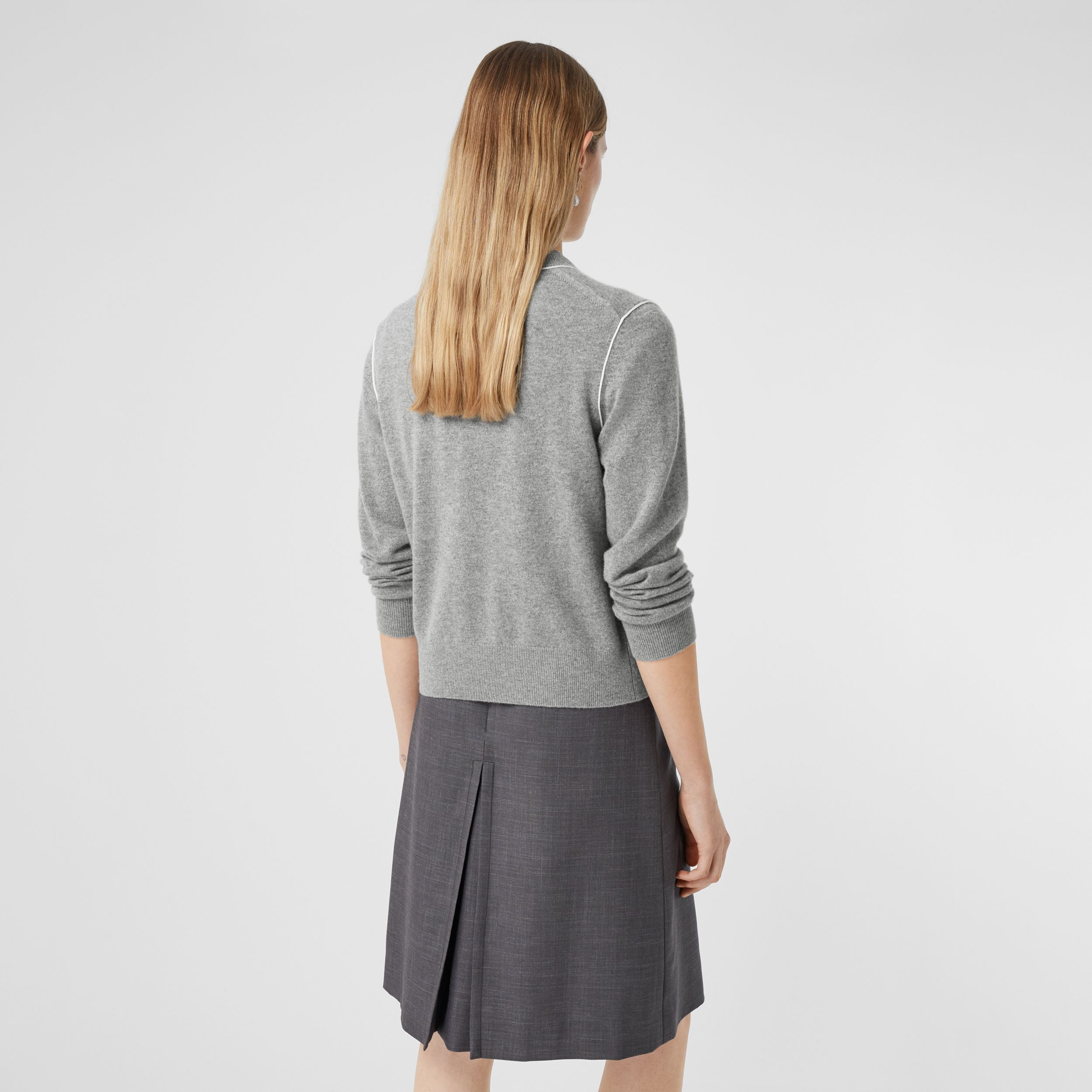 Silk Trim Monogram Motif Cashmere Cardigan in Grey Melange - Women | Burberry Australia - 3