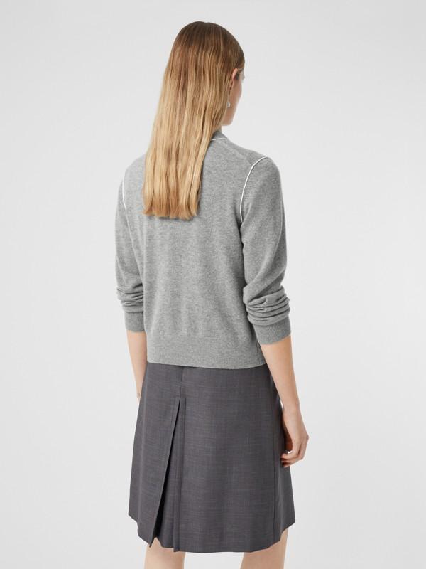 Silk Trim Monogram Motif Cashmere Cardigan in Grey Melange - Women   Burberry - cell image 2