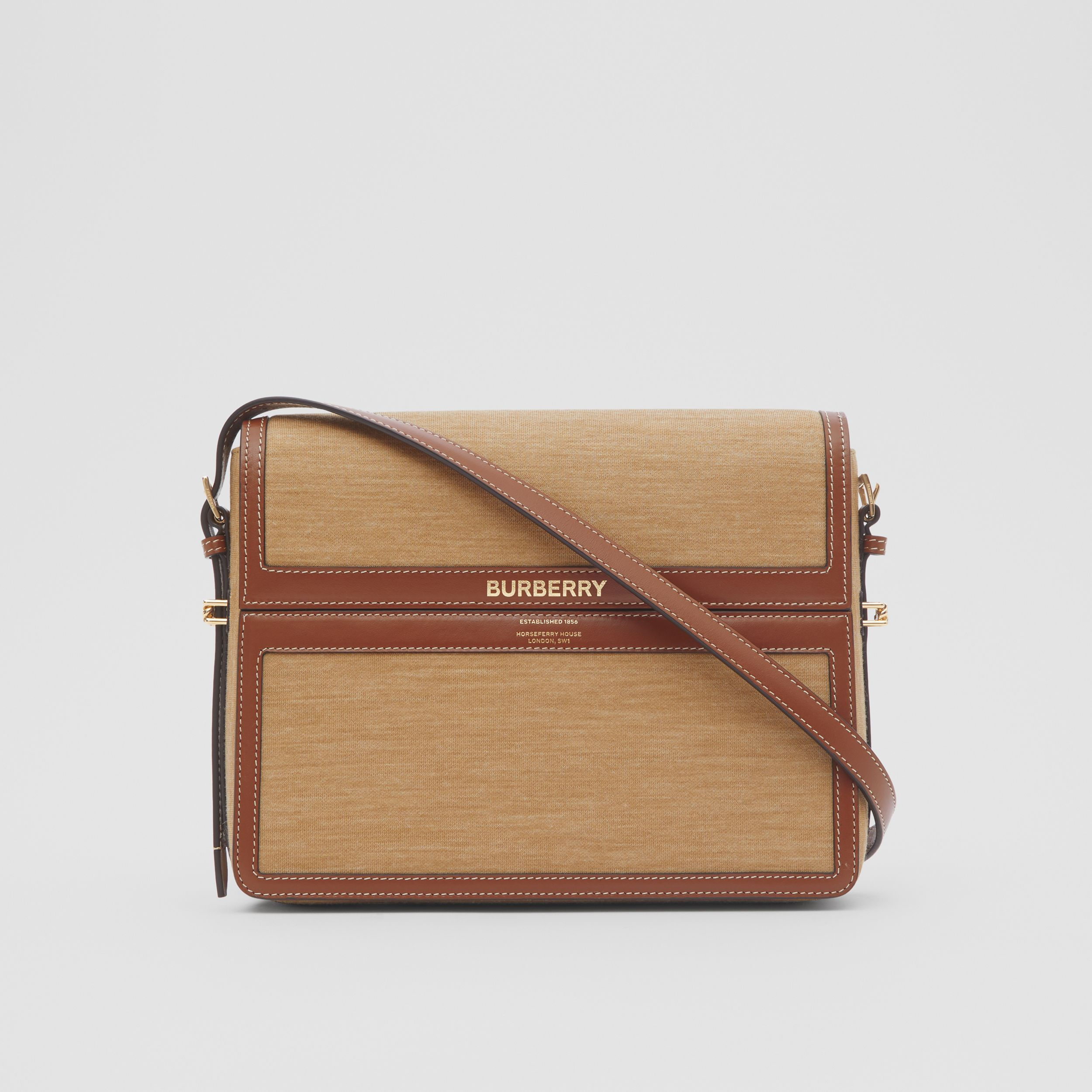 Large Jersey and Leather Grace Bag in Pecan Melange - Women | Burberry Singapore - 1
