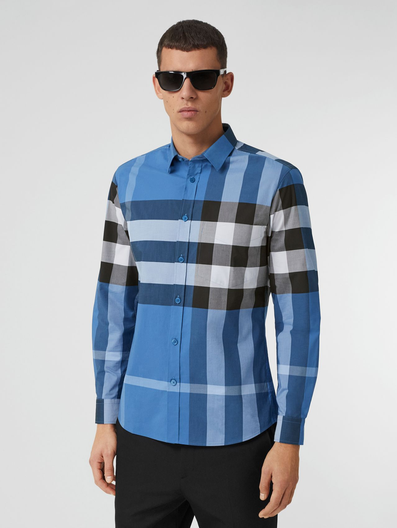 Check Stretch Cotton Poplin Shirt in Dark Cerulean Blue