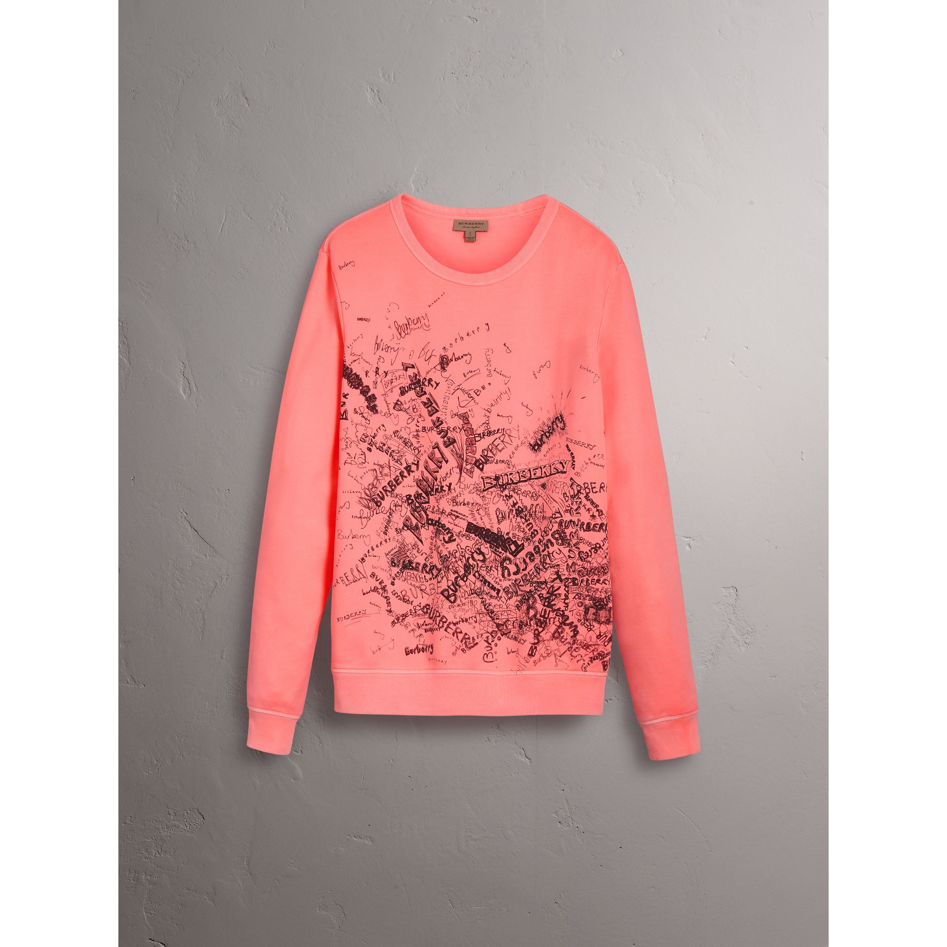 Doodle Print Cotton Sweatshirt in Bright Clementine | Burberry - gallery image 3