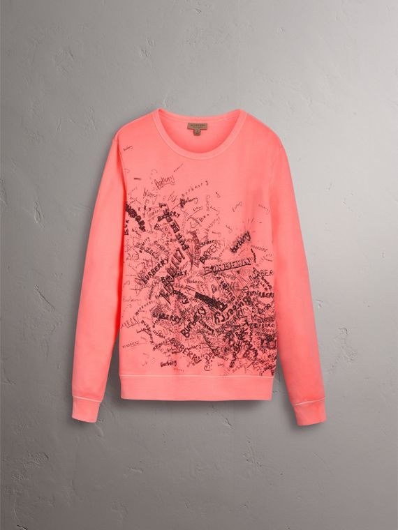 Doodle Print Cotton Sweatshirt in Bright Clementine - Women | Burberry - cell image 3