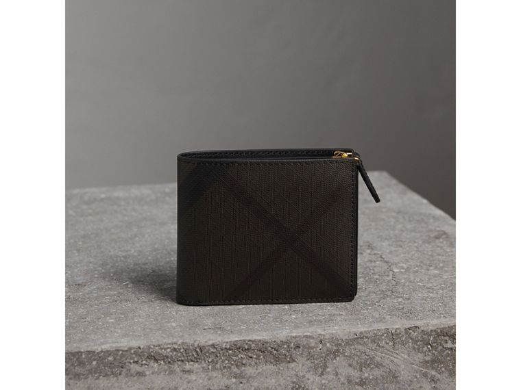 London Check International Bifold ID Coin Wallet in Chocolate/black - Men | Burberry - cell image 4