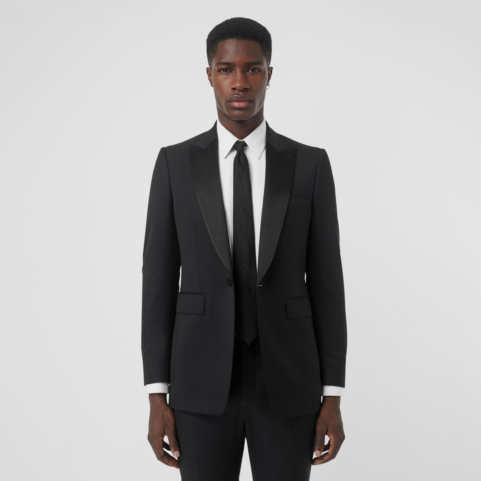 Classic Fit Wool Silk Tuxedo in Black - Men | Burberry - gallery image 7
