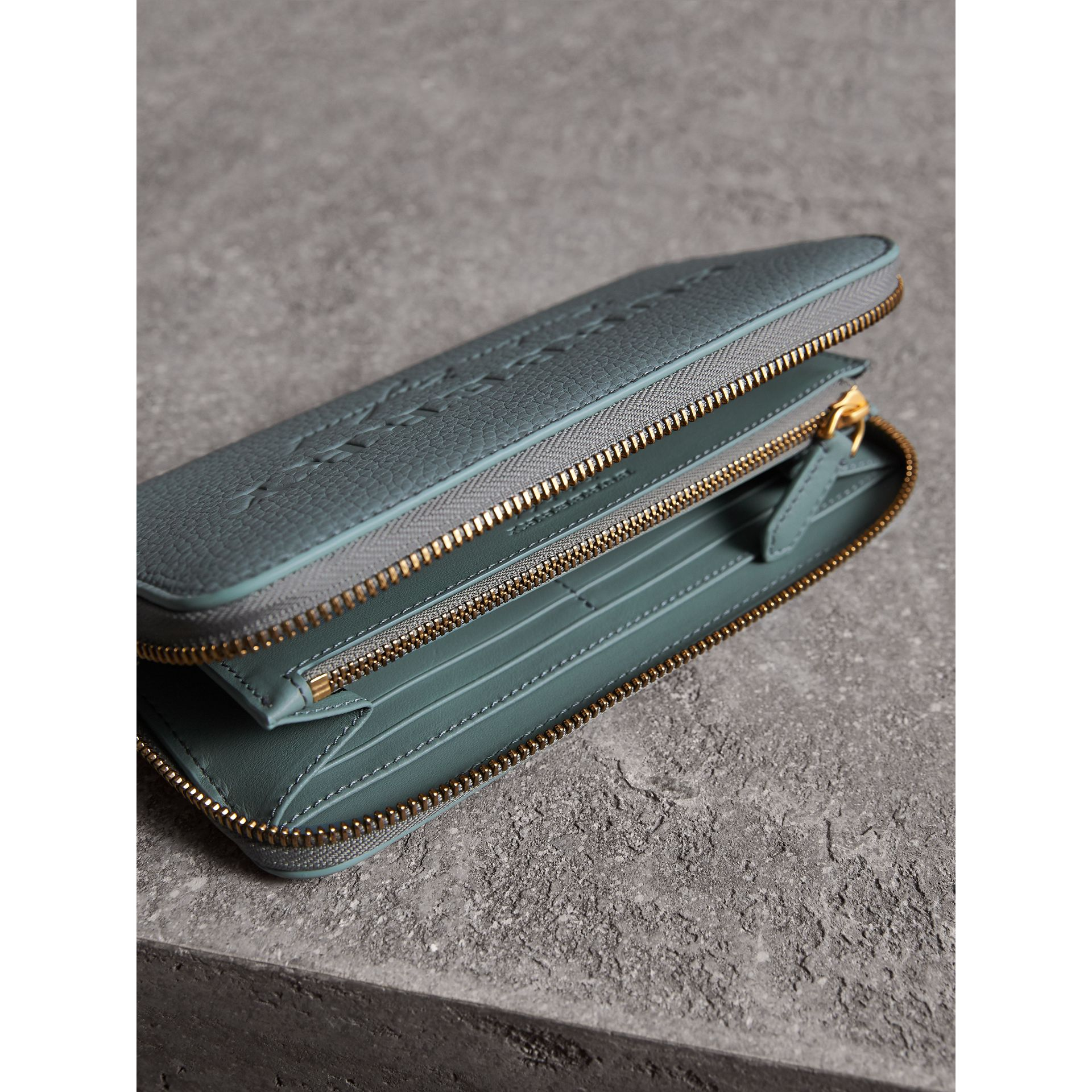 Embossed Leather Ziparound Wallet in Dusty Teal Blue | Burberry Australia - gallery image 4