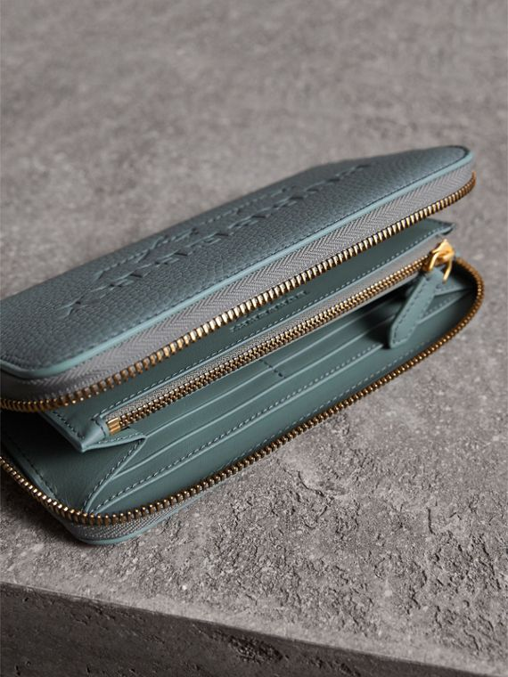 Embossed Leather Ziparound Wallet in Dusty Teal Blue | Burberry - cell image 3