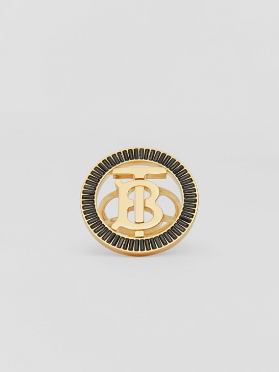 Crystal Detail Gold-plated Monogram Motif Ring in Jet Black