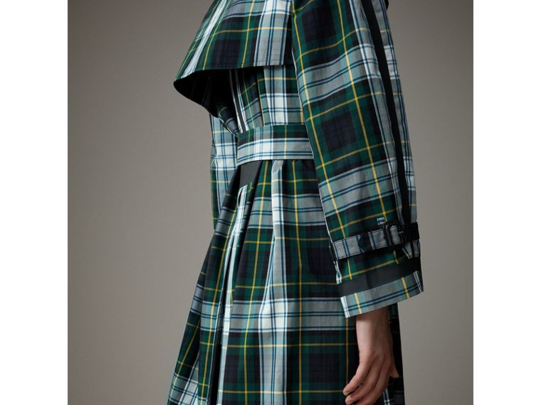 Tartan Cotton Gabardine Trench Coat in Ink Blue - Women | Burberry - cell image 4