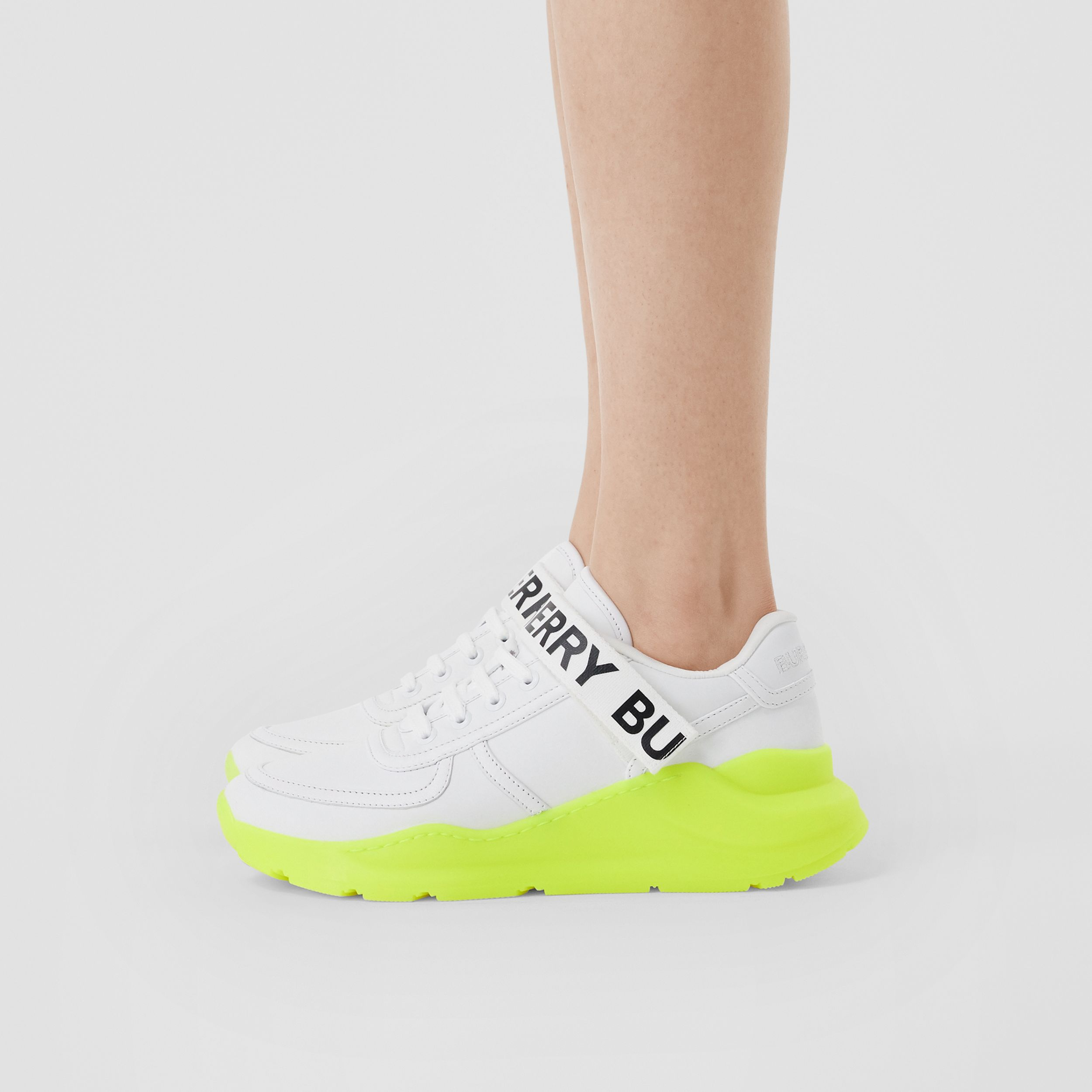 Logo Detail Leather and Nylon Sneakers in Optic White/fluorescent Yellow - Women | Burberry United Kingdom - 3