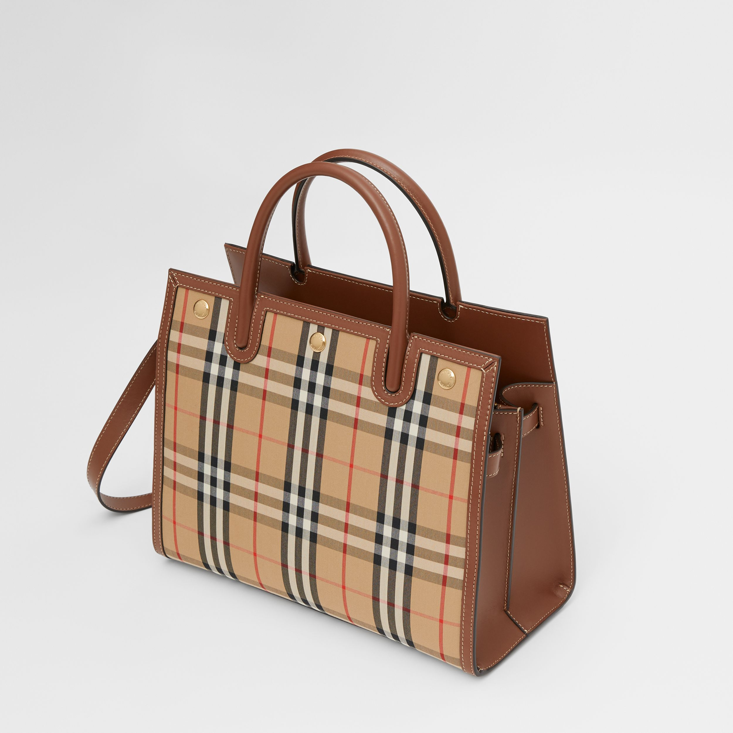 Medium Vintage Check Two-handle Title Bag in Archive Beige - Women | Burberry - 4