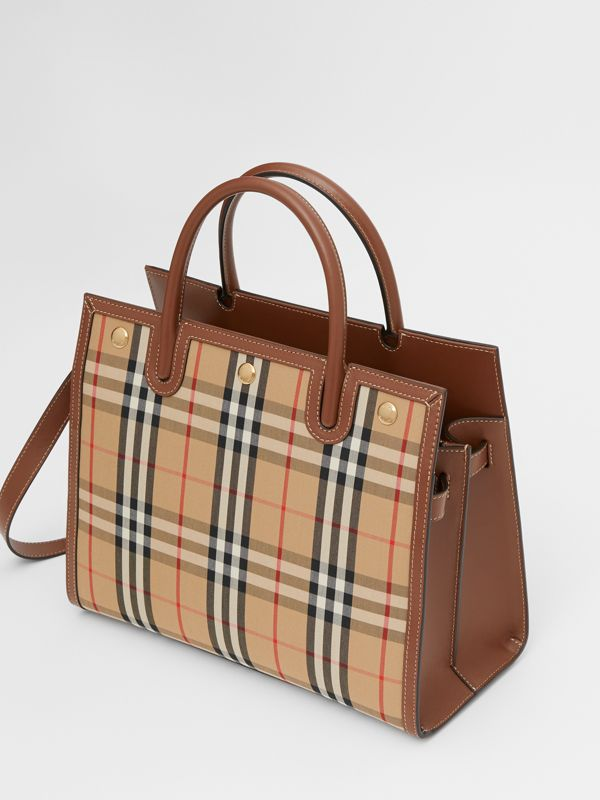 Medium Vintage Check Two-handle Title Bag in Archive Beige - Women | Burberry Canada - cell image 3