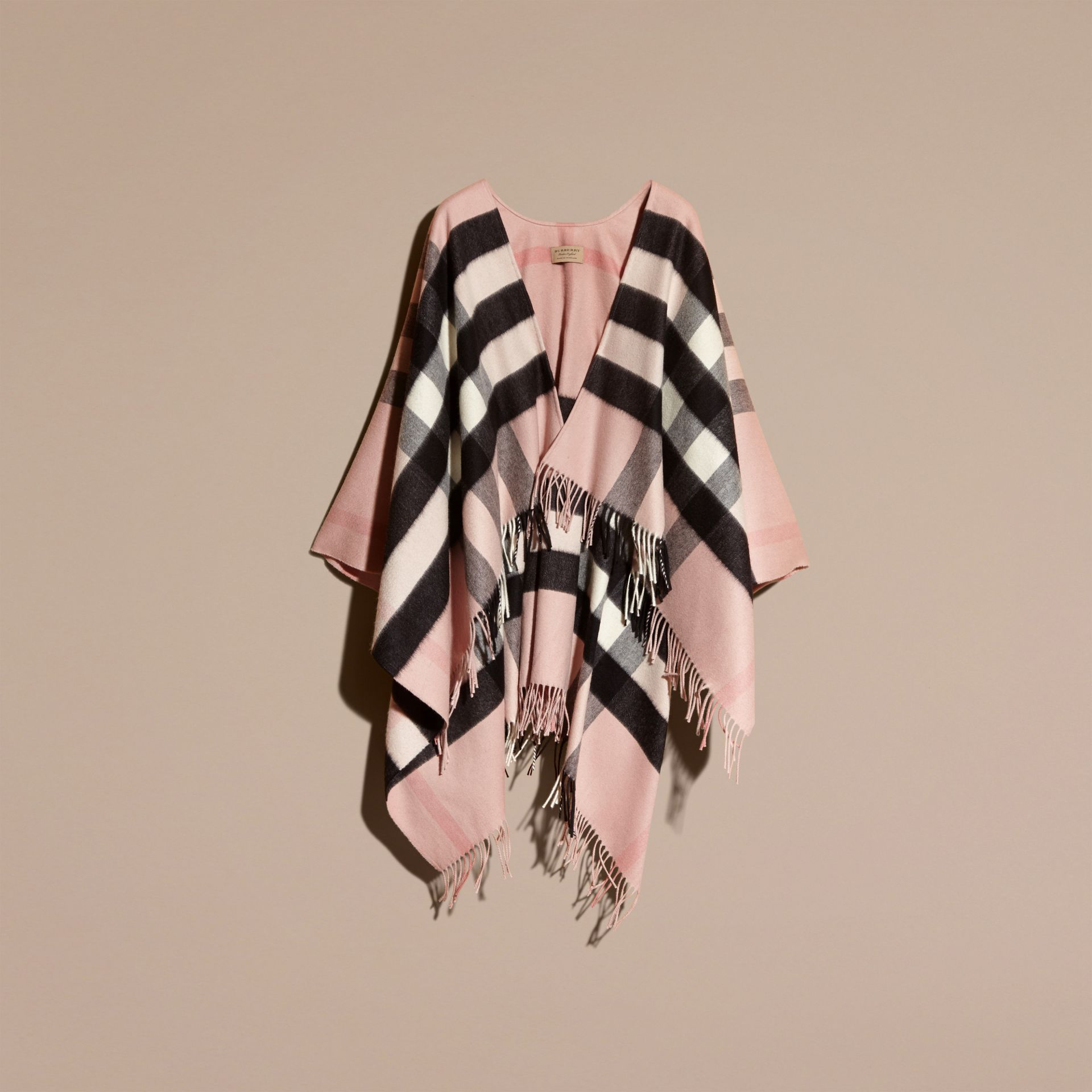 Check Cashmere and Wool Poncho Rose - gallery image 4