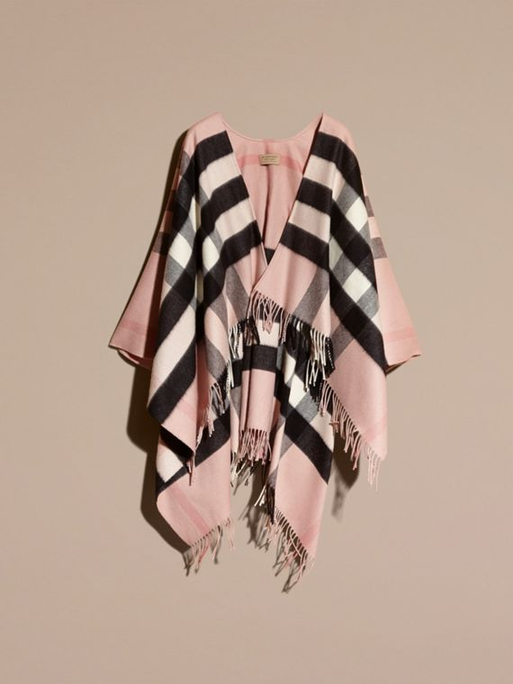 Ash rose Check Cashmere and Wool Poncho Rose - cell image 3