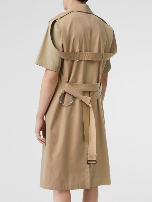 Sleeveless Cotton Gabardine Trench Coat in Honey | Burberry - cell image 1