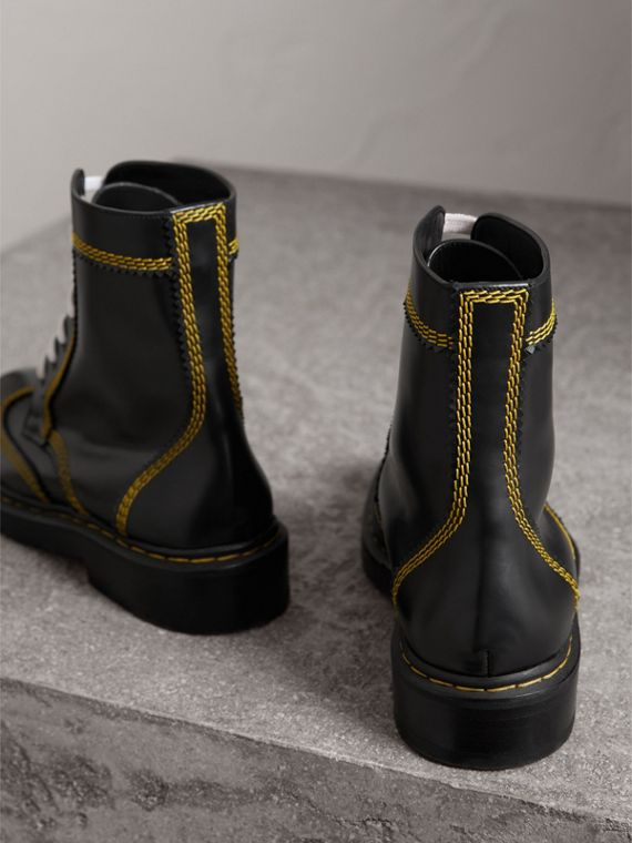 Topstitch Leather Lace-up Boots in Black - Women | Burberry - cell image 3