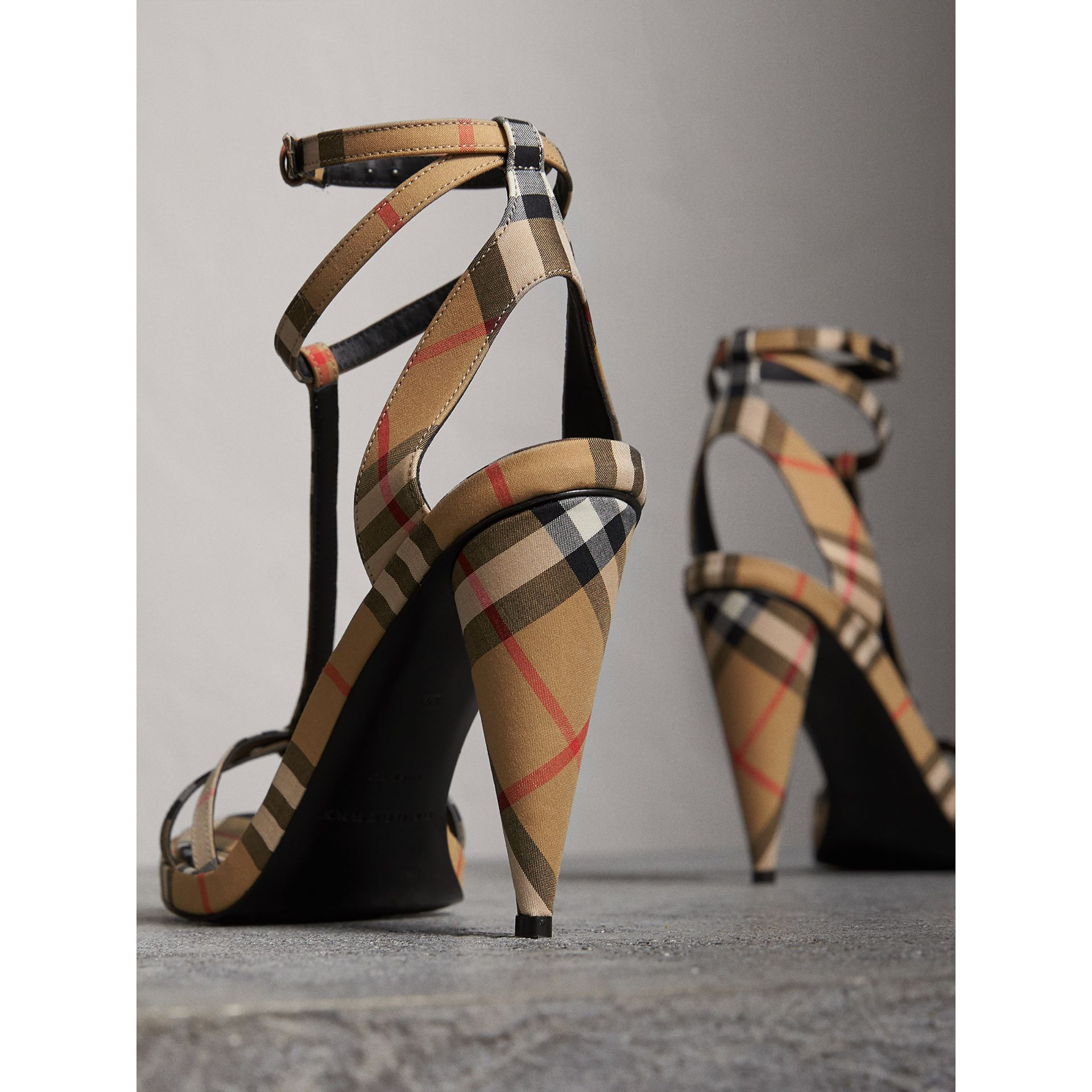 Vintage Check Cotton High-heel Sandals in Antique Yellow - Women | Burberry United Kingdom - gallery image 3