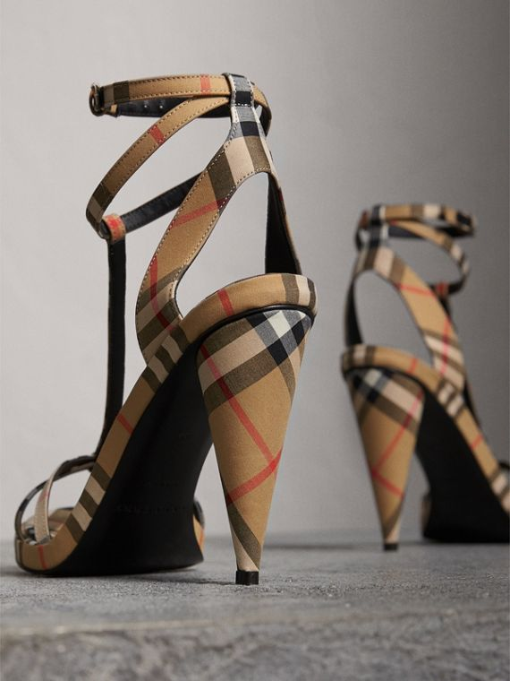 Vintage Check Cotton High-heel Sandals in Antique Yellow - Women | Burberry - cell image 3