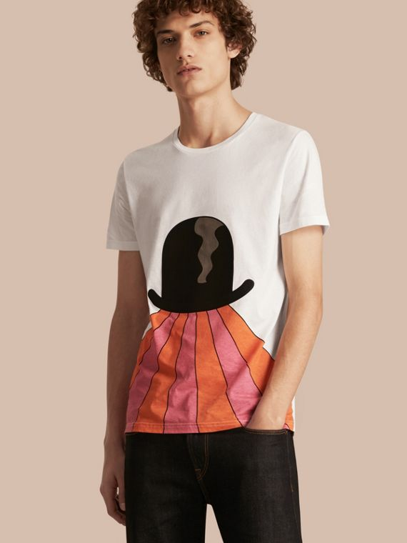 Bowler Hat Motif and Stripe Print Cotton T-shirt